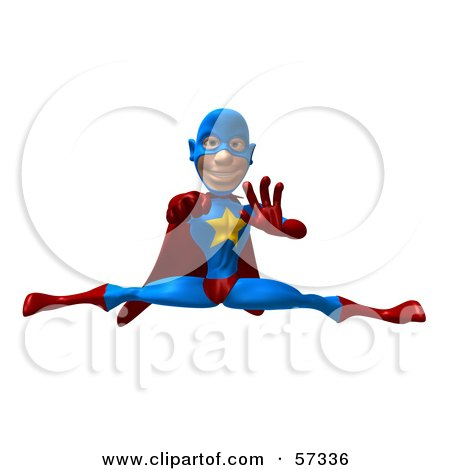 Royalty-Free (RF) Clipart Illustration of a 3d Male Star Superhero Character Punching And Doing The Splits by Julos