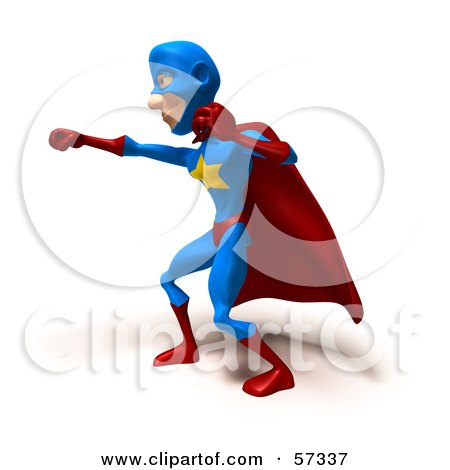 Royalty-Free (RF) Clipart Illustration of a 3d Male Star Superhero Character Punching - Version 3 by Julos