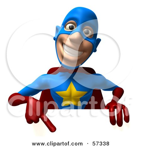 Royalty-Free (RF) Clipart Illustration of a 3d Male Star Superhero Character Pointing Down At A Blank Sign by Julos