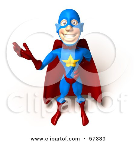 Royalty-Free (RF) Clipart Illustration of a 3d Male Star Superhero Character Waving - Version 2 by Julos