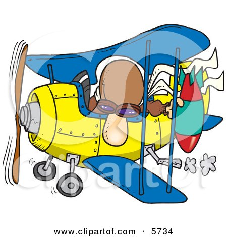 Bomber Man in a Biplane Preparing to Drop a Bomb Clipart Illustration by toonaday