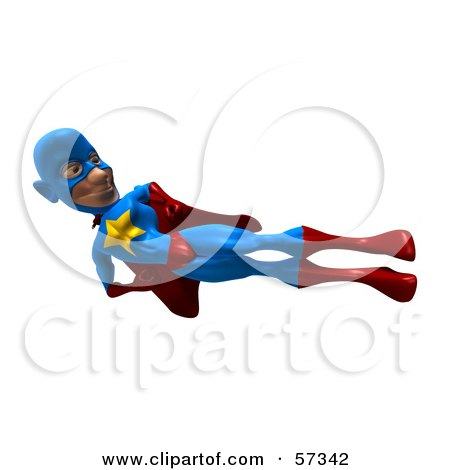 Royalty-Free (RF) Clipart Illustration of a 3d Male Star Superhero Character Doing A Flying Side Kick by Julos