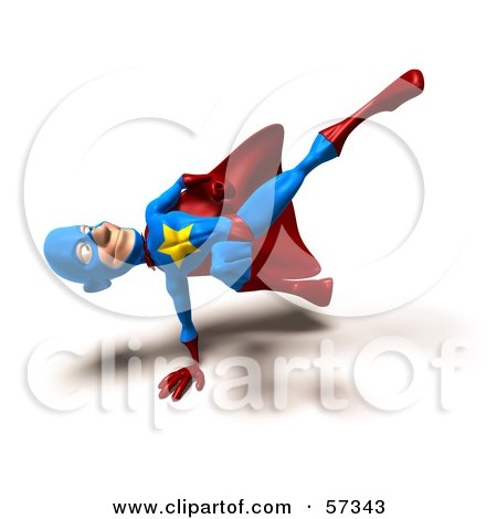 Royalty-Free (RF) Clipart Illustration of a 3d Male Star Superhero Character Kicking - Version 8 by Julos