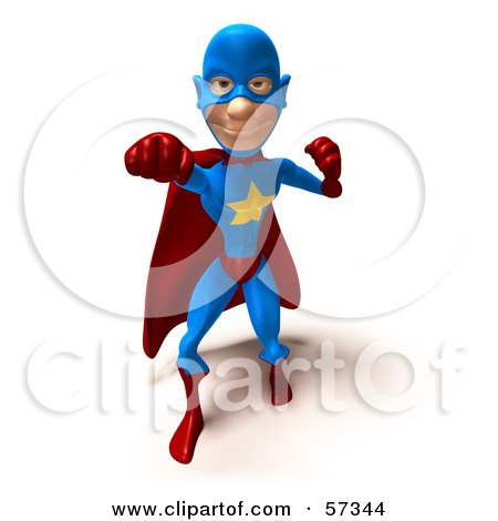 Royalty-Free (RF) Clipart Illustration of a 3d Male Star Superhero Character Punching - Version 2 by Julos