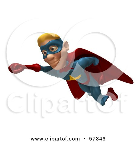 Royalty-Free (RF) Clipart Illustration of a 3d Male Star Superhero Character Flying - Version 1 by Julos