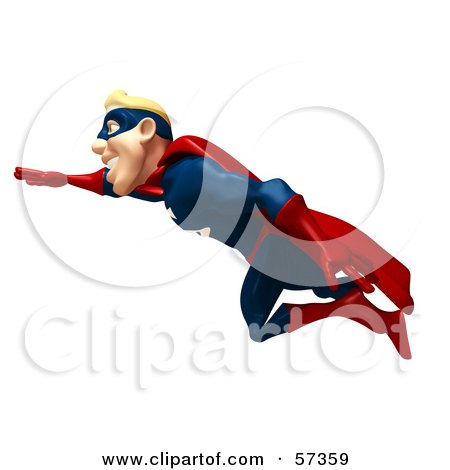 Royalty-Free (RF) Clipart Illustration of a 3d Male Super Guy Character Flying - Version 2 by Julos
