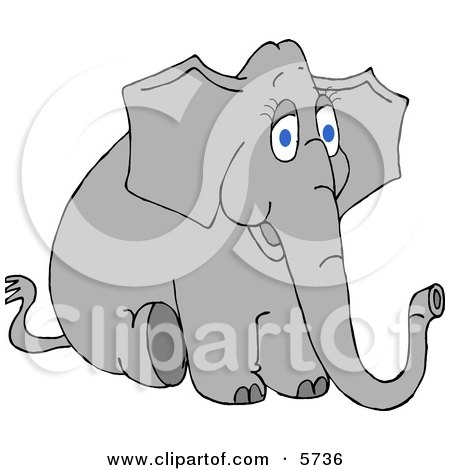 Young Female Elephant Sitting On the Ground Clipart Illustration by djart