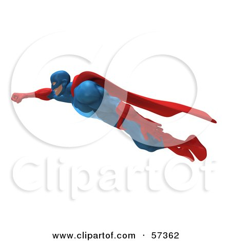 Royalty-Free (RF) Clipart Illustration of a 3d Buffman Super Hero Character Flying - Version 1 by Julos