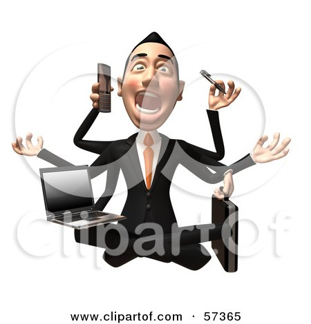 Royalty-Free (RF) Clipart Illustration of a yalty-Free (RF) Clipart Illustration of a 3d Asian Businessman Character Multi Tasking - Version 2 by Julos
