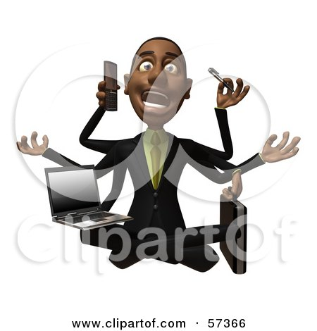 Royalty-Free (RF) Clipart Illustration of a 3d Black Businessman Character Multi Tasking - Version 2 by Julos