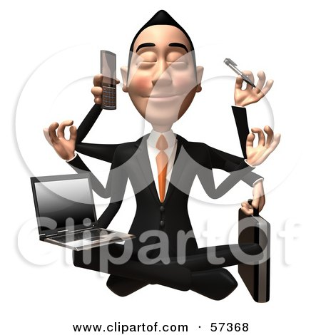 Royalty-Free (RF) Clipart Illustration of a 3d Asian Businessman Character Multi Tasking - Version 1 by Julos