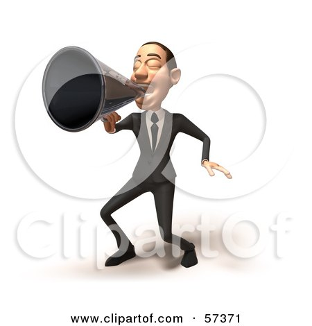 Royalty-Free (RF) Clipart Illustration of a 3d White Corporate Businessman Character Using A Megaphone - Version 3 by Julos