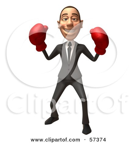 Royalty-Free (RF) Clipart Illustration of a 3d White Corporate Businessman Character Boxing - Version 5 by Julos