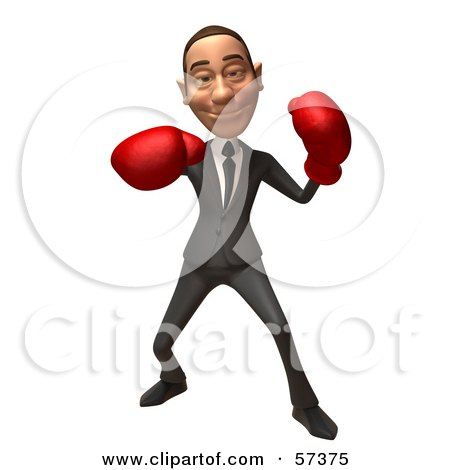 Royalty-Free (RF) Clipart Illustration of a 3d White Corporate Businessman Character Boxing - Version 4 by Julos