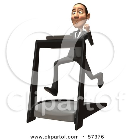 Royalty-Free (RF) Clipart Illustration of a 3d White Corporate Businessman Character Running On A Treadmill - Version 2 by Julos