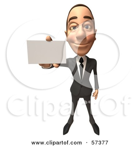 Royalty-Free (RF) Clipart Illustration of a 3d White Corporate Businessman Character Holding A Blank Business Card - Version 1 by Julos