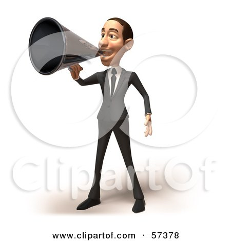 Royalty-Free (RF) Clipart Illustration of a 3d White Corporate Businessman Character Using A Megaphone - Version 1 by Julos