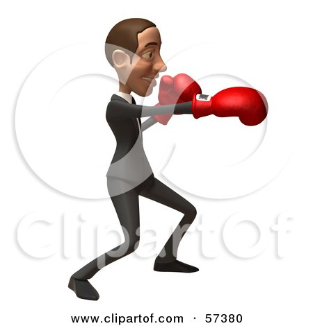 Royalty-Free (RF) Clipart Illustration of a 3d White Corporate Businessman Character Boxing - Version 6 by Julos