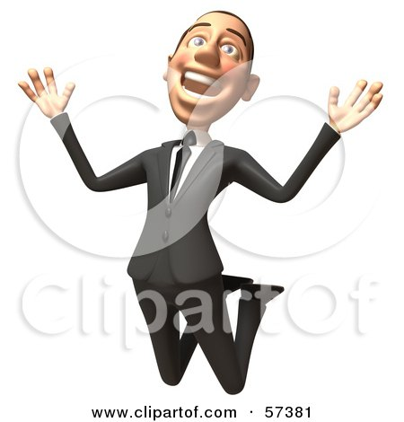 Royalty-Free (RF) Clipart Illustration of a 3d White Corporate Businessman Character Jumping - Version 1 by Julos