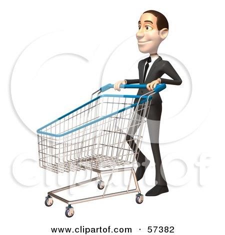 Royalty-Free (RF) Clipart Illustration of a 3d White Corporate Businessman Character Pushing A Shopping Cart - Version 3 by Julos