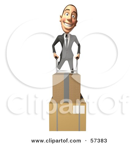 Royalty-Free (RF) Clipart Illustration of a 3d White Corporate Businessman Character Moving Boxes On A Dolly - Version 4 by Julos