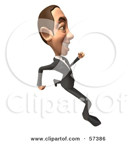Royalty-Free (RF) Clipart Illustration of a 3d White Corporate Businessman Character Running - Version 4 by Julos
