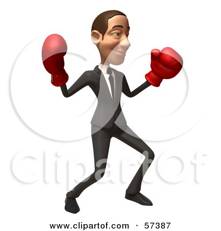 Royalty-Free (RF) Clipart Illustration of a 3d White Corporate Businessman Character Boxing - Version 3 by Julos