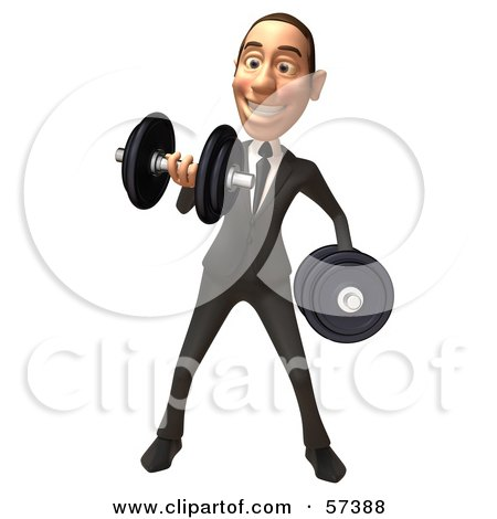 Royalty-Free (RF) Clipart Illustration of a 3d White Corporate Businessman Character Lifting Weights - Version 1 by Julos