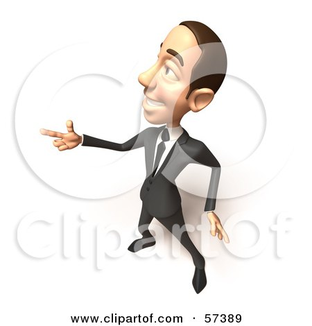 Royalty-Free (RF) Clipart Illustration of a 3d White Corporate Businessman Character Pointing His Fingers Like A Gun - Version 2 by Julos