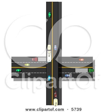 Traffic Driving On Crossroads in a Populated City Clipart Illustration by djart