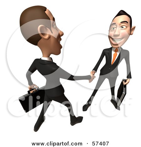 Royalty-Free (RF) Clipart Illustration of a 3d White Corporate Businessman Character Shaking Hands With A Colleague - Version 4 by Julos