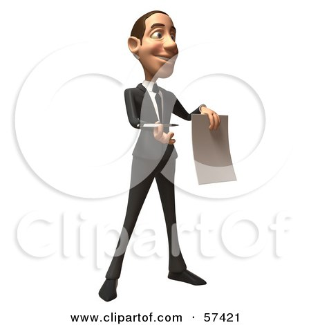 Royalty-Free (RF) Clipart Illustration of a 3d White Corporate Businessman Character Holding A Contract - Version 2 by Julos