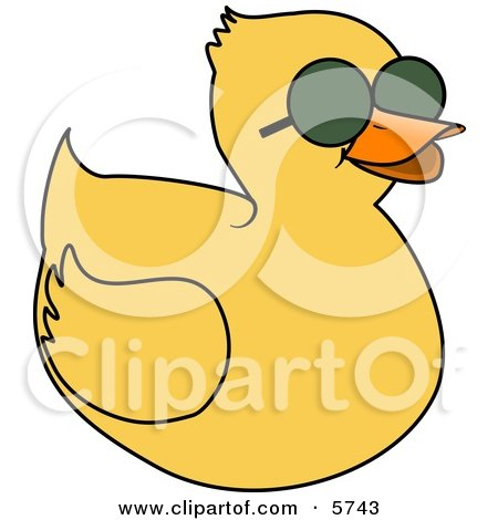 Yellow Duckling Wearing Dark Sunglasses On a Hot Sunny Day Clipart Illustration by djart