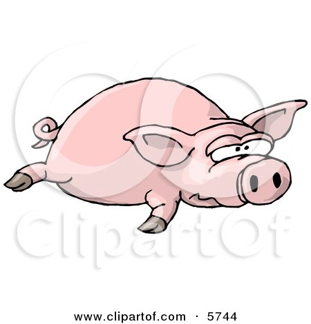 Big Fat Pig Laying On the Ground Clipart Illustration by djart