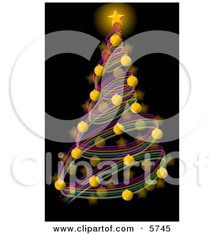 Decorated Christmas Tree with a Bright Gold Star and Balls Clipart Illustration by djart