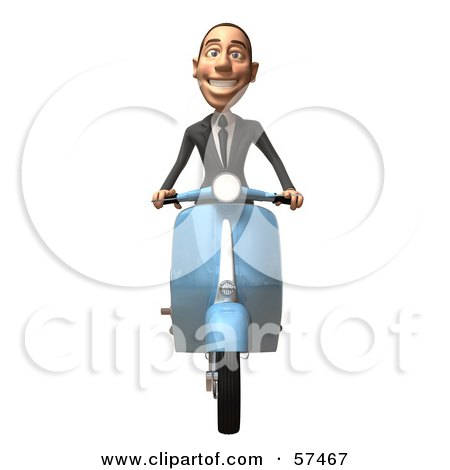 Royalty-Free (RF) Clipart Illustration of a 3d White Corporate Businessman Character Riding A Scooter - Version 3 by Julos