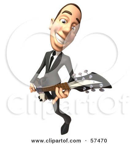 Royalty-Free (RF) Clipart Illustration of a 3d White Corporate Businessman Character Playing An Electric Guitar - Version 3 by Julos