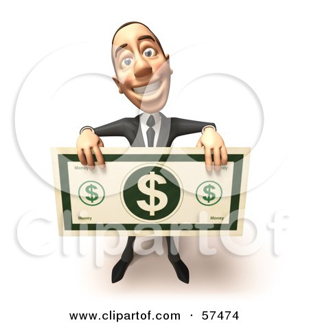 Royalty-Free (RF) Clipart Illustration of a 3d White Corporate Businessman Character Holding An Oversized Banknote - Version 4 by Julos