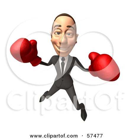 Royalty-Free (RF) Clipart Illustration of a 3d White Corporate Businessman Character Boxing - Version 2 by Julos