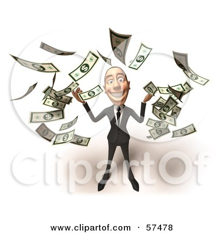 Royalty-Free (RF) Clipart Illustration of a 3d White Corporate Businessman Character Throwing Cash - Version 1 by Julos