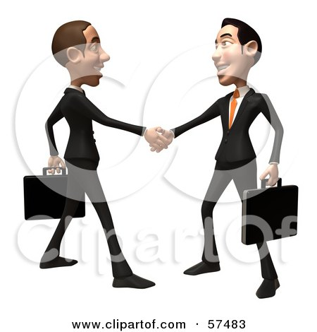 Royalty-Free (RF) Clipart Illustration of a 3d White Corporate Businessman Character Shaking Hands With A Colleague - Version 1 by Julos
