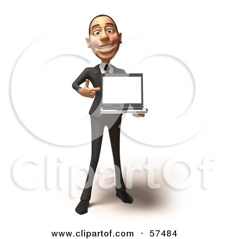 Royalty-Free (RF) Clipart Illustration of a 3d White Corporate Businessman Character Holding A Laptop - Version 1 by Julos