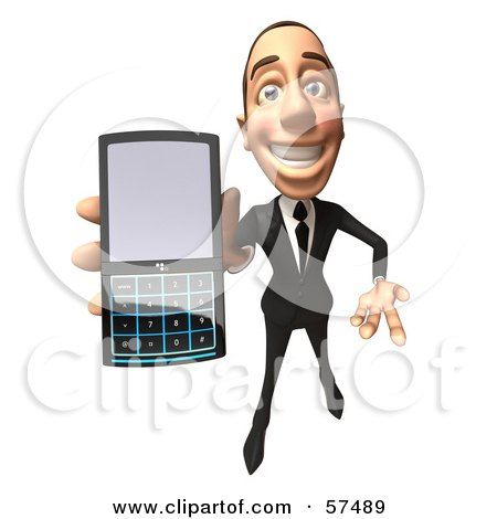Royalty-Free (RF) Clipart Illustration of a 3d White Corporate Businessman Character Holding A Cell Phone - Version 4 by Julos