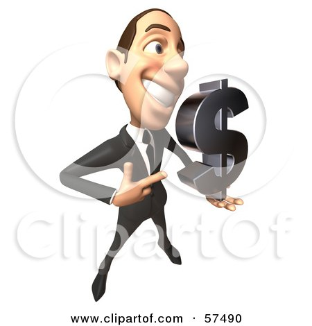 Royalty-Free (RF) Clipart Illustration of a 3d White Corporate Businessman Character Holding A Dollar Symbol - Version 4 by Julos