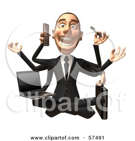 Royalty-Free (RF) Clipart Illustration of a 3d White Corporate Businessman Character Multi Tasking - Version 2 by Julos