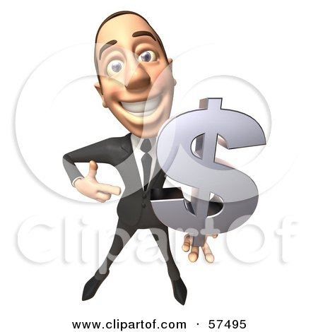 Royalty-Free (RF) Clipart Illustration of a 3d White Corporate Businessman Character Holding A Dollar Symbol - Version 1 by Julos