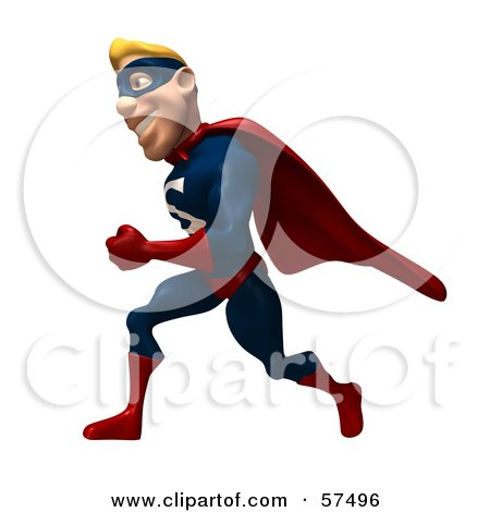 Royalty-Free (RF) Clipart Illustration of a 3d Male Super Guy Character Running by Julos