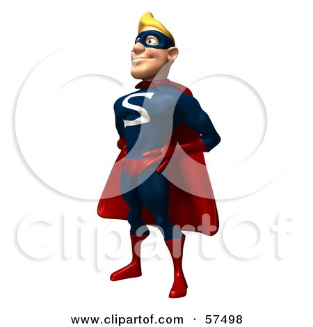 Royalty-Free (RF) Clipart Illustration of a 3d Male Super Guy Character Standing And Facing Left by Julos