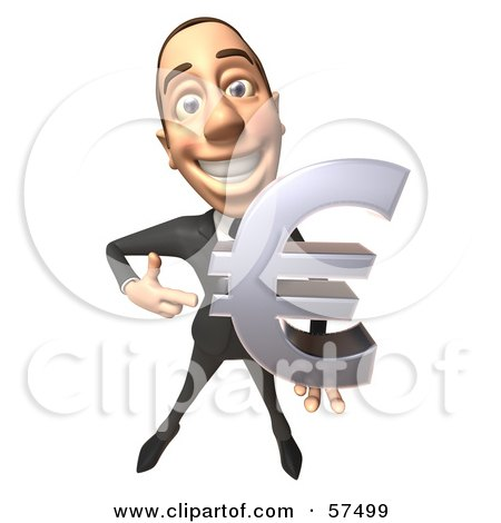 Royalty-Free (RF) Clipart Illustration of a 3d White Corporate Businessman Character Holding A Euro Symbol - Version 2 by Julos