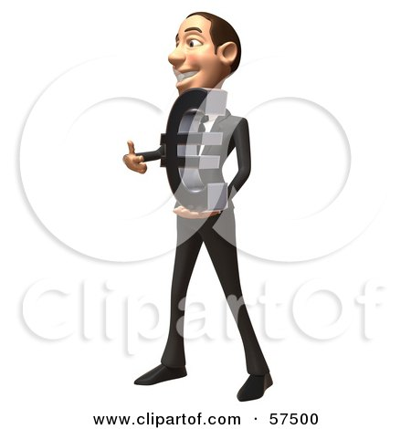 Royalty-Free (RF) Clipart Illustration of a 3d White Corporate Businessman Character Holding A Euro Symbol - Version 3 by Julos